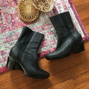 Cole haan black leather midcalf boot Nike air sole